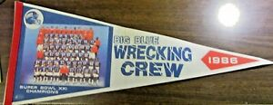 1986  NY GIANTS - BIG BLUE WRECKING CREW 30 INCH FELT PENNANT - SUPERBOWL CHAMPS