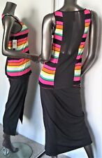 NWT-ERIC + LANI  MULT-ICOLOR  RAINBOW STRIPE SHEER BLACK BACK TANK TOP M MSP$35