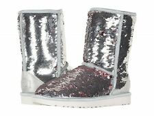 UGG AUSTRALIA SPARKLES BOOTS WOMENS CLASSIC SHORT SEQUIN REVERSIBLE SILVER  8