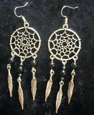 Dreamcatcher Earrings Black Onyx Handmade Sterling Silver Plated Wings Feathers