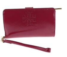 Tory Burch Charlie Patent Leather Bi-Fold Zipper Wallet - Raspberry - $195 MSRP!
