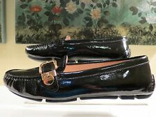NWB WOMENS AUTHENTIC PRADA BLACK PATENT BUCKLE LOAFERS MOCCASIN SHOES 39.5/9.5