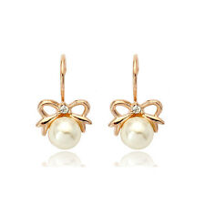 GORGEOUS 18K ROSE GOLD PLATED GENUINE AUSTRIAN CRYSTAL & PEARL DANGLE EARRINGS