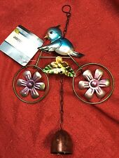 Home Garden Wind Spinners Bicycle Blue Bird Spinning Wheels Sculpture W/ Bell