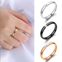 Women Men Size 5-13 Stainless Steel Wedding Band Couple Ring Solid Crystal CZ