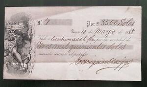 Peru Henry Meiggs railroad entrepreneur script check draft 3500 Soles 1868 vale