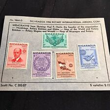 1955 Nicaragua Postage Stamps Air Mail on Old Scott Sheet Lot of 5 #C353-57