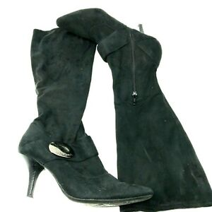 BCBGirls Suede Pull On Boots SZ 8 Black EUC Box Not Included