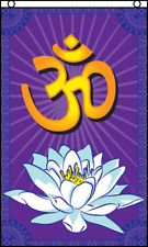 New listing Om Flag 3x5 Polyester Lotus Flower Peace Meditation Tranquility