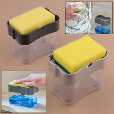 2 in 1 Press Dishwashing Liquid Soap Dispenser Scrubber