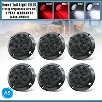 "Smoked Lens 4 Red & 2 White 12 LED 4"" Round 12V Stop Reverse RV Truck Tail Light"