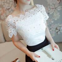 Fashion Hollow Out Women Short Sleeve Blouse Lace Patchwork Top Elegant Shi gxSF