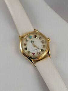 Stunning Multi-Gem 12 Birthstones Gold Overlay Stainless Steel Ladies' Watch