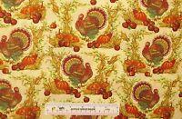 Harvest Fall Thanksgiving Turkey Pumpkins Cotton Fabric Fat Quarter FQ  (F)