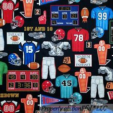 BonEful Fabric Cotton Quilt NFL FOOTBALL Sport Boy USA America*n Flag Sale SCRAP