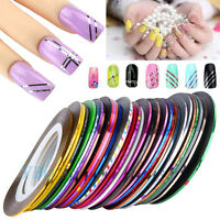 30 Mixed Colors DIY Pro Nail Art Sticker Rolls Striping Tape Line Manicure Tips