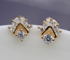 Clear Crystal Rhinestone CZ 18K Yellow Gold Plated Stud Earrings Women Jewelry