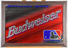 Vintage 1997 Mlb Baseball Logo Budweiser Beer Wood Framed Mirror Sign Rare