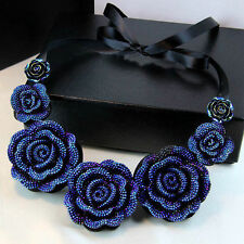 Exquisite Rose Flower Ribbon Statement Choker Bib Pendant Chunky Collar Necklace