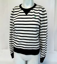Womens Black White Stripe Knit Juicy Couture Los Angeles Knit Sweater Top Size L