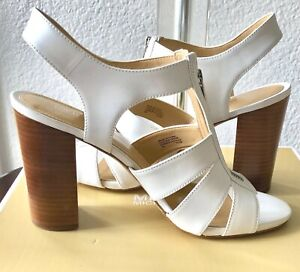 NEW Michael Kors Damita Shoes, Sandals, Sling back, Open toes, White SZ 9M