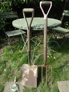 Garden tools Vintage Spade and Fork, wonderful old tools still in working state
