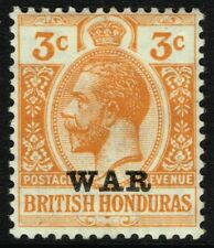 SG 118 BRITISH HONDURAS 1918 WAR STAMP - 3c ORANGE - MOUNTED MINT