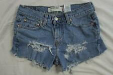 "Womens 29"" Zipper Fly Levi Cut Off Stretch Denim Shorts Daisy Duke Distressed"