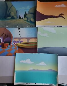 5 Pink Panther Original Production Animation Master Key Painted Backgrounds Lot