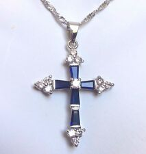 "Cc Blu Zaffiro & Diamante SIM Cross & Catena 18"" Oro bianco GF in scatola Plum UK 20"