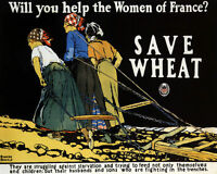 POSTER AMERICAN SAVE WHEAT HELP WOMEN OF FRANCE WORLD WAR VINTAGE REPRO FREE S/H