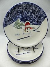 Thomson Pottery Snowman pattern - set/lot of 4 Snowman theme Dinner plates - EUC