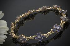 Schmuck Armband mit Tansanit Blumen in 585er Gelbgold 14 Karat Gold