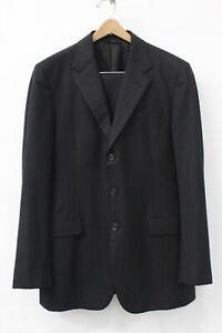 Prada Men's Black Wool Pinstripe 3-Button 2 Piece Suit Size 52 R