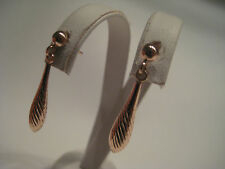 9ct rose gold ribbed drop earrings NEW IN ON PROMOTION
