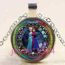 FROZEN Stained Cabochon Tibetan silver Glass Chain Pendant Necklace #3253