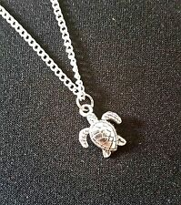 "Tiny TURTLE Charm Necklace 18"" Chain Pendant"