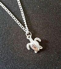 """Collana con Ciondolo Tartaruga piccola 18"""" Ciondolo Catena-sacchetto regalo organza GRATIS"""