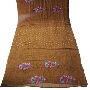 Brown Saree Dress Indian Vintage Georgette Craft Fabric Printed Sari Curtain 5YD