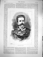 Original Old Antique Print 1878 Portrait Humbert King Italy Man Uniform 19th