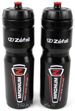 2 Pack Zefal Magnum 33oz 1L Wide-Mouth Bike Water Bottles Dishwasher Safe Black
