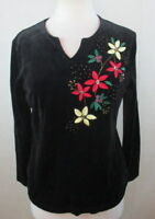 BECHAMEL WOMENS SMLL S KNIT TOP SHIRT BLOUSE HOLIDAY CHRISTMAS FLORAL EMBROIDERE