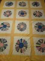 Vintage Handmade Quilted Quilt Dresden Plate Feedsack Scraps Fabric 1920S 1930s