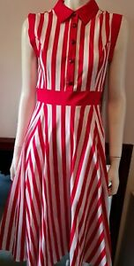 Red And White Stripe Swing Rockabilly Dress Us8