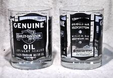 Extremely Rare Pair of Harley Davidson Genuine Oil 10 Ounce Drinking Glasses
