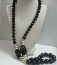 Vintage Hong Kong Jet Black Chunky Lucite Gold Tone Long Necklace, 34""
