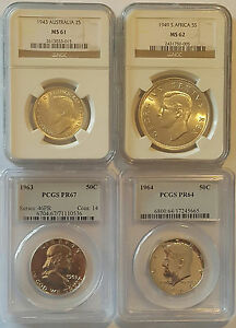AUSTRALIA SOUTH AFRICA USA / Lot of 4 Slabbed Coins by PCGS & NGC !!
