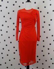 ASOS Womens Mesh Fitted Midi Dress 4 Red Ruched NWT