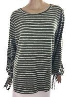Ana New Size XXL Green & Gray Stripe Top Shirt Long Sleeve Polyester/Spandex