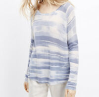Vince Impressionist Striped Sweater Size XS Blue White Cashmere Wool Soft